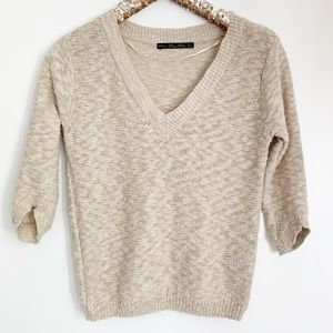 Zara Knit V Neck Sweater in Cream